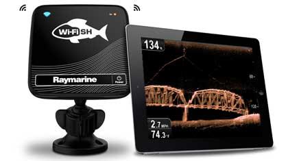 Módulo de sonda Wi-Fish con dispositivo portátil mostrando información