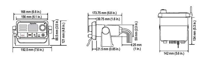 Dimensiones de la radio Ray50