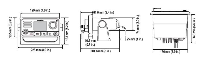 Dimensiones del radioteléfono VHF Ray60