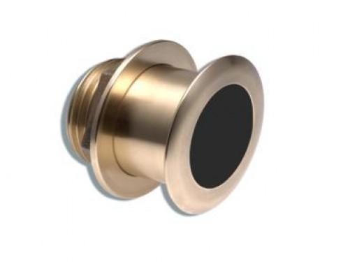 A102112 Transductor B164-12 50/200, fabricado en bronce muestra datos de profundidad y temperatura. Vista en perspectiva lateral
