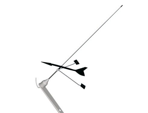 10053 Antena de comunicaciones DC/Windex C-53,Antena VHF para barcos de vela tipo látigo. dos elementos, acabada en acero inoxidable. Incluye indicador de dirección de viento Windex