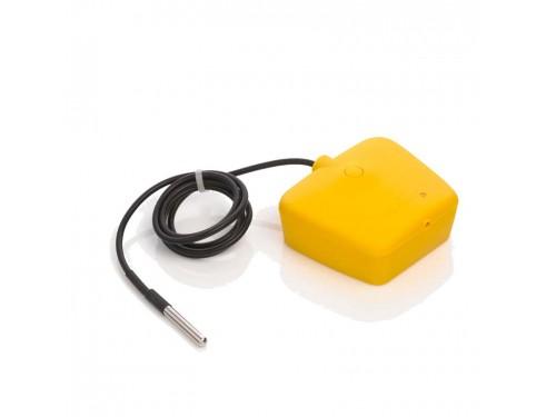 DKT Sensor de temperatura para Dokensip. Envía la información de la temperatura. Si la temperatura sale del rango establecido por el usuario, se enviará un aviso de alarma. Acabado del sensor en color amarillo