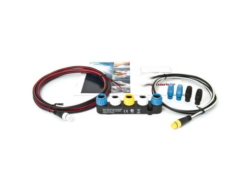 E70196 Kit convertidor VHF NMEA0183 a STNG. Imagen frontal de todos los componentes que forman el kit