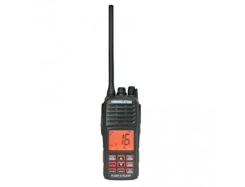 HM-160 Radio VHF portátil. Al caer al agua flota y parpadea para que sea fácil de localizar. Vista frontal