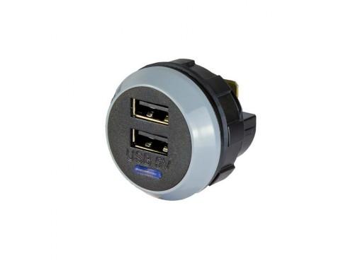 Cargador USB PowerVerter Pro-D, doble salida, 12/24V, 3A, fijo