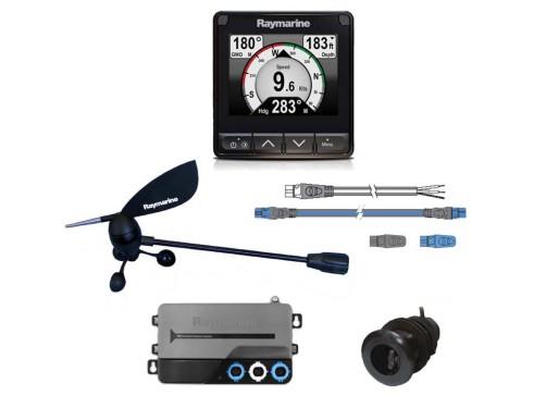 T70226 Pack de sistema i70s Pantalla, transductores y kit conexión.Vista frontal de todos los componentes