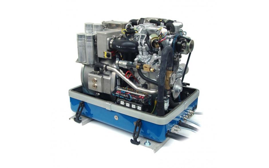 01.01.01.136P Generador Diésel Panda de 8Kwa, acabado en fibra, vista del generador abierto en perspectiva