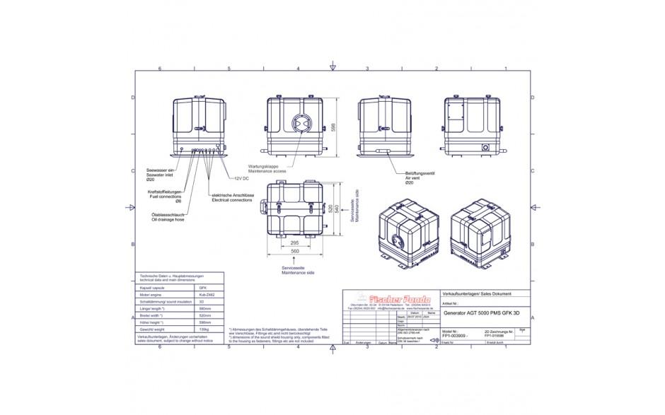 0 000 355 Generador Panda AGT-DC 5000-12V PMS. Esquema con las medidas