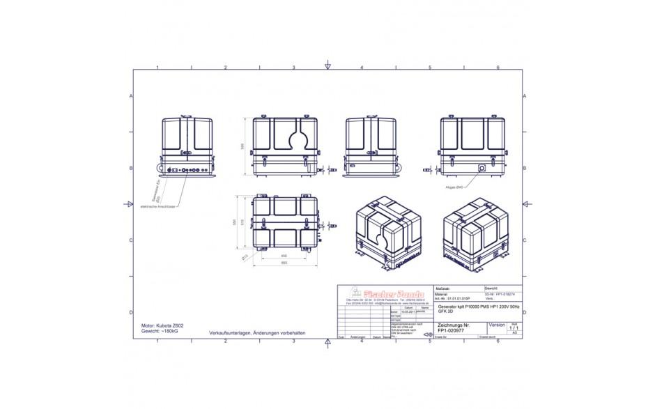 03.01.01.106P Generador diésel de 9,1Kw, esquema de dimensiones