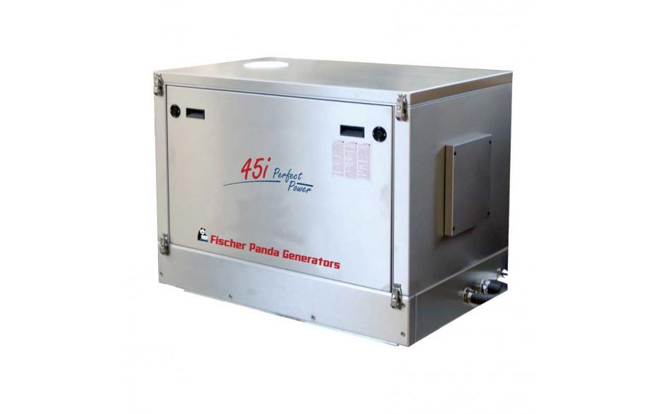 0000179_MPL Generador diésel de 36Kw, vista en perspectiva del generador cerrado con acabados en metal