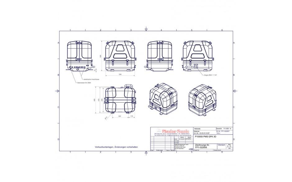 03.05.01.012P Generador Panda 10000i PMS - Hasta 8 kW. Esquema con medidas