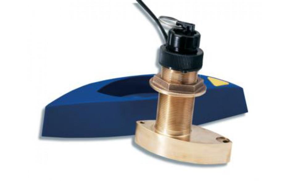 A66091 Triducer B744V, fabricado en bronce, de instalación pasacascos, muestra datos de profundidad, velocidad y temperatura. Incluye barquilla