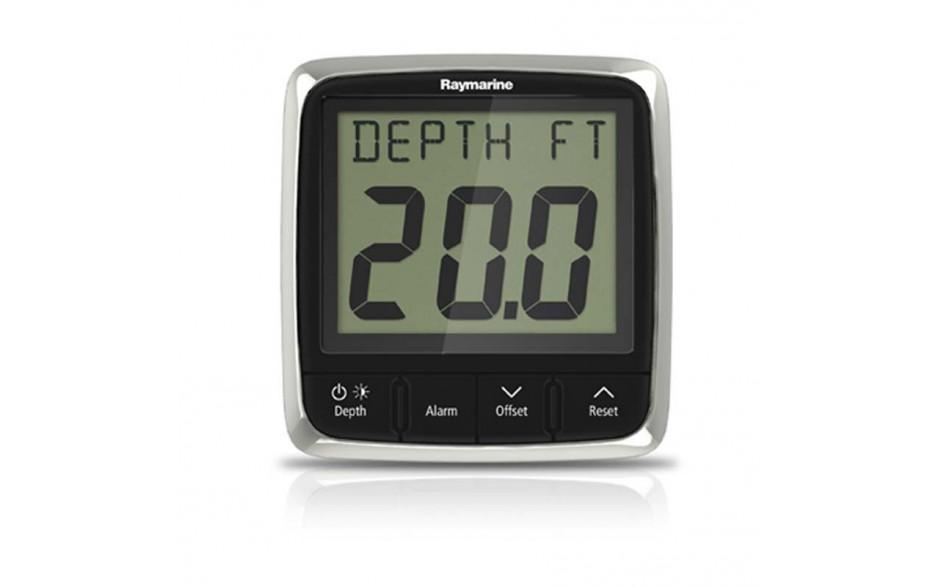 E70059 i50 - Profundímetro digital. Proporciona información sobre la profundidad actual tanto en pies como en metros o brazas. Registra además las profundidades mínima y máxima encontradas durante el tiempo que la unidad está conectada. Vista frontal