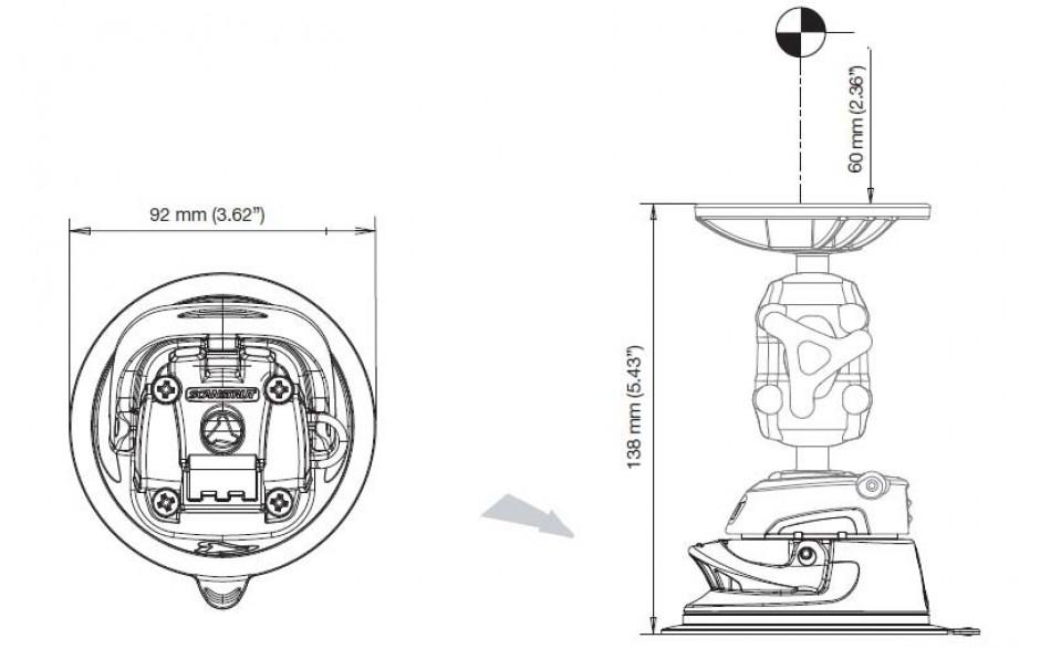 Dimensiones del producto. El ejemplo muestra la ventosa RLS-405 con cuerpo RLS-AM y parte superior RL-502