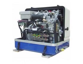 03.01.01.094P Generador diésel de 8Kw, vista en perspectiva del generador con la tapa de fibra levantada, mostrando el motor