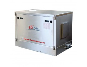 03.05.01.002P Generador diésel de 36Kw, vista en perspectiva del generador cerrado con acabados en metal