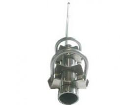 10093 Antena de comunicaciones de 5,50 metros en dos secciones, fabricada en fibra de vidrio con base de acero inoxidable y latón, vista de la antena en perspectiva frontal