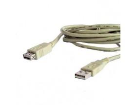 1994/3 Cable de conexión USB macho A - hembra A de 3 metros. Acabado en color blanco