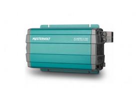 28011000 Convertidor de corriente continua a corriente alterna AC Master 12/1000, vista en perspectiva lateral de la parte frontal e inferior donde se encuentran las tomas de alimentación