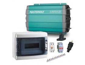 28021500_DIF Convertidor de corriente continua a corriente alterna AC Master 12/1500, vista en perspectiva lateral de la parte frontal del conversor y de los componentes del diferencial