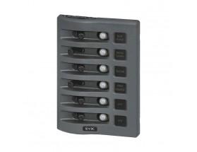 4376-BSS - Panel WeatherDeck 12VCC de interruptores, gris, 6 posiciones, estanco