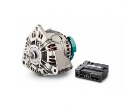 46628110 Alternador de 24V Alpha Compact 28/110, con regulador Los alternadores Alpha Compact ofrecen una elevada potencia de salida continua en aplicaciones de almacenamiento de energía. Junto al regulador Alpha Pro, crean una solución de carga de alto r