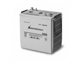 61002600 Batería AGM 6/260Ah, no requiere mantenimiento, tienen la capacidad de descargarse completamente cientos de veces. Vista en perspectiva de la parte frontal