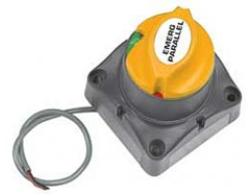 701-MDVS Paralelo de emergencia 12V 275A 701-MDVS. Pulsador para poner en paralelo 2 baterías durante 10 minutos. Una vez transcurrido ese tiempo, si el voltaje es lo suficientemente alto para que opere, permanecerá conectado, si no se desconectará. Vista