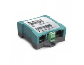 77031500 Módulo conmutación Digital AC 1x6A.  Permite la conmutación directa de cargas CA de hasta 6A desde la red MasterBus, mientras que cargas más fuertes deben ser conmutadas a través de un relé. Vista en perspectiva lateral