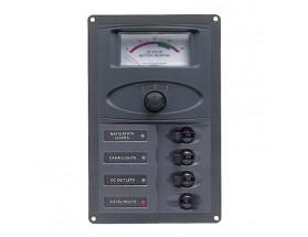 900-AM Panel interruptores 900-AM. Panel de 4 interruptores Airpax con medidor analógico de voltaje CC de la batería. vista frontal