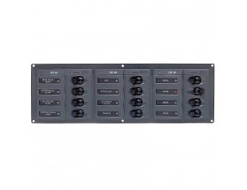 902NMH Cuadro eléctrico CC 12 interruptores, sin display, 12 voltios, horizontal .  BEP Marine utiliza materiales de la más alta calidad en su gama de paneles de control, desde las placas base de aluminio de grado marino hasta los interruptores de circuit