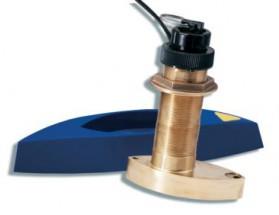 A66092 Triducer B744VL, fabricado en bronce, de instalación pasacascos, muestra datos de profundidad, velocidad y temperatura. Incluye barquilla