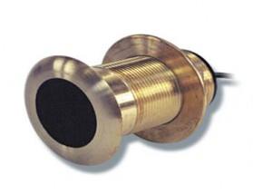 E66014 Transductor B117. Transductor fabricado en bronce, de montaje pasacascos, muestra datos de profundidad.