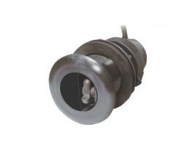 A22154 Triducer analógico DST800, fabricado en plástico, de instalación pasacascos, muestra datos de profundidad, temperatura y velocidad.