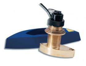 A26043 Triducer B744V, ST60/70/290, fabricado en bronce, de instalación pasacascos, muestra datos de profundidad, velocidad y temperatura.