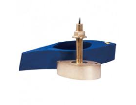 A80010 Transductor B265LH, fabricado en bronce, de instalación pasacascos, muestra datos de profundidad y temperatura. Incluye barquilla