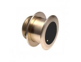 A80036 Transductor B75M, fabricado en bronce, de instalación pasacascos, muestra datos de profundidad y temperatura.
