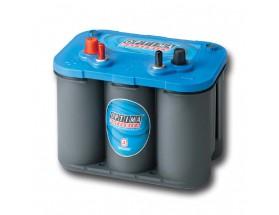 BAT/28434 Batería OPTIMA Blue BTLSI4, 50Ah. Con el electrolito en forma de gel la evaporación de éste es menor, por lo que aumenta su durabilidad y permite un mayor número de ciclos de carga y descarga. Vistan en perspectiva lateral del frontal.