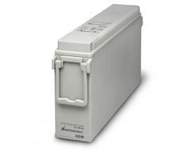 63001500Batería AGM-Slim 12/150Ah versión estrecha, no requiere mantenimiento, tienen la capacidad de descargarse completamente cientos de veces. Vista en perspectiva de la parte frontal