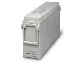 63001850 Batería AGM-Slim 12/185Ah, no requiere mantenimiento, tienen la capacidad de descargarse completamente cientos de veces. Vista en perspectiva de la parte frontal