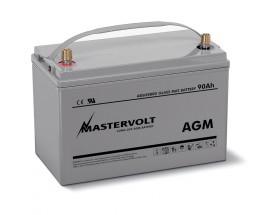 62000900 Batería AGM 12/90Ah , no requiere mantenimiento, tienen la capacidad de descargarse completamente cientos de veces. Vista en perspectiva de la parte frontal