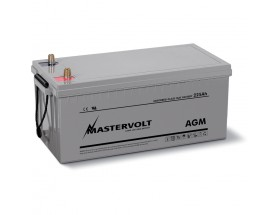 62002250 Batería AGM 12/225Ah, no requiere mantenimiento, tienen la capacidad de descargarse completamente cientos de veces. Vista en perspectiva de la parte frontal