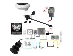 T70341 i70s, kit de instrumentación inalámbrico, sensor de rumbo y kit troncal, vista frontal de todos los componentes